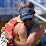 Campeonato del Mundo Master- en Malaga 4-16-09-2018 -M-60 en 1.500 ml. llego a meta 1º y con el amigo Juan Guillermo de Colombia nos abrazamos